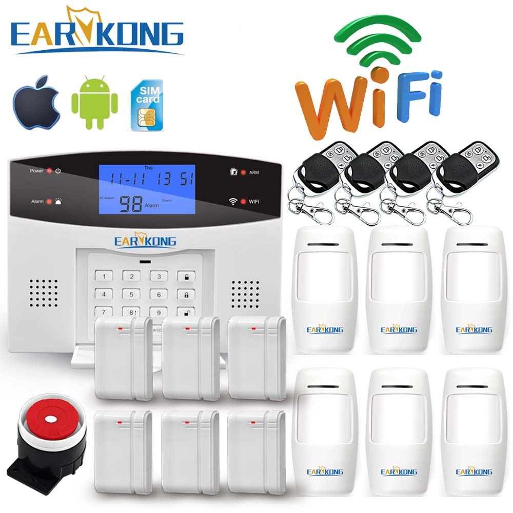 Wifi gsm pstn sistema de alarme sem fio & com fio detectores alarme casa inteligente relé saída app inglês/russo/espanhol/frança/italiano