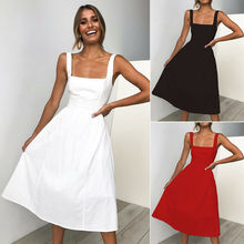 Hot Womens Summer Casual Sleeveless Solid Strappy High Waist Square Neck Long Evening Party Beach Dresses Draped A-Line Sundress