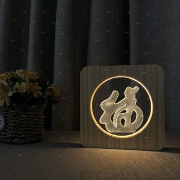 blessing design Chinese style Wooden acrylic lamps for party decor room led for bedroom table lamp