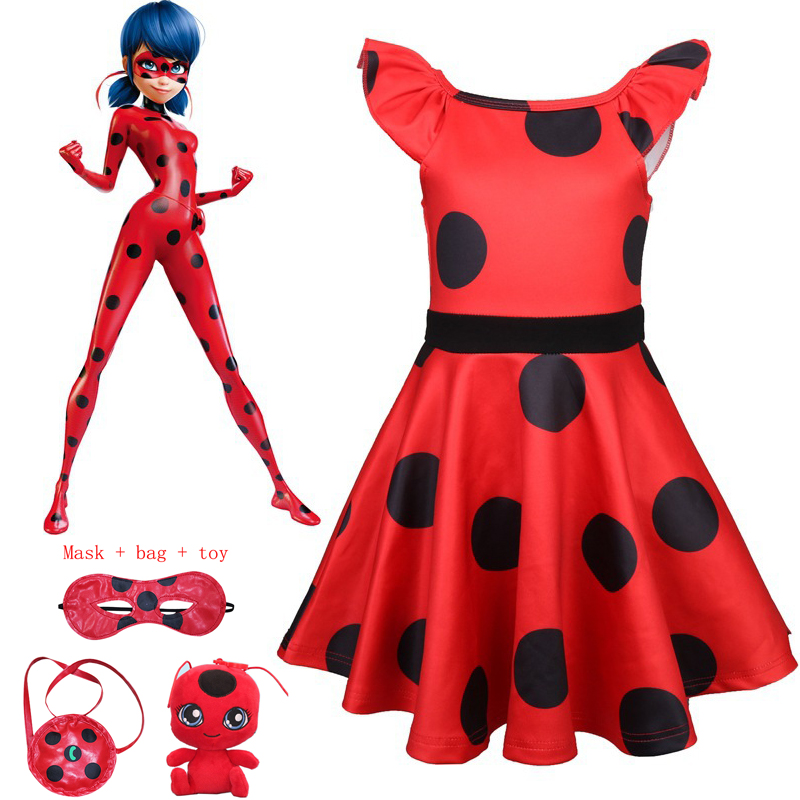 New Lady Bug Red Dot birthday Party Dress toys masks Costume Kids Girls Clothes Miraculous Ladybug Halloween Cosplay Dress 3-10Y kids miraculous ladybug cat noir cosplay miccostumes costume with mask ladybug black romper bodysuit halloween tight jumpsuit