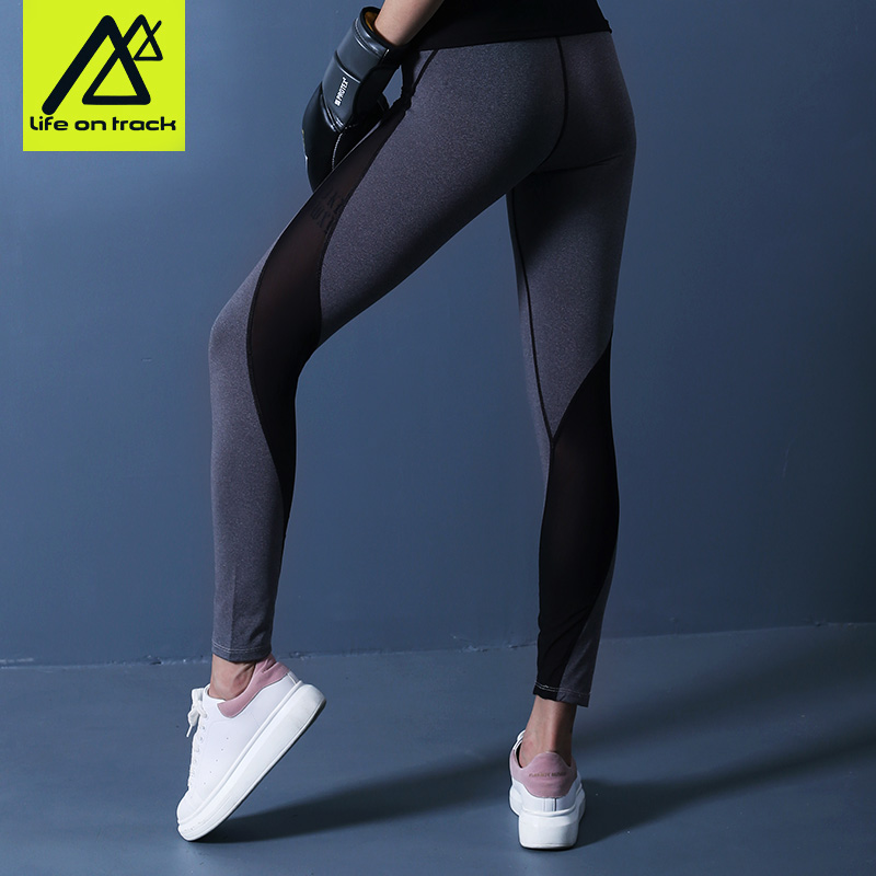 Life on Track Womens Running Pants Mesh Stretchy Yoga Running Dancing Workout Sports Ankle Length Legging