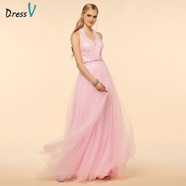 Dressv cuello Halter una línea vestido de dama de Rosa del hombro ...