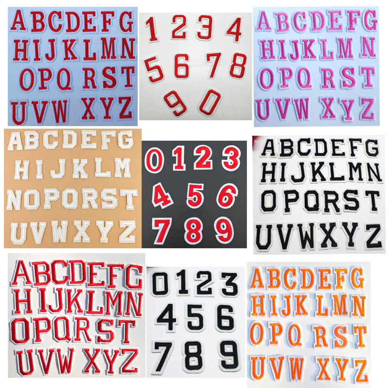 Embroidered small english letter patches for iron-on clothing pink patch numbe sticker badge applique brand patch accessories