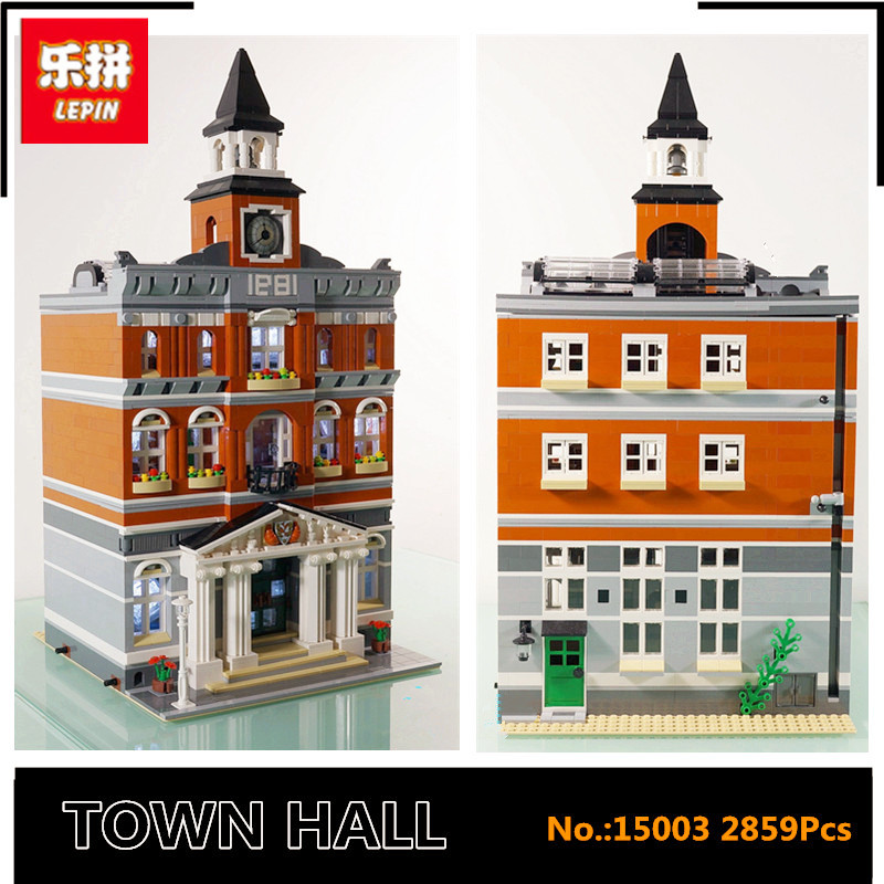 IN STOCK 15003 LEPIN New 2859Pcs  The town hall Model Building Kits toys Gift Compatible for children technical building new lepin 16008 cinderella princess castle city model building block kid educational toys for children gift compatible 71040