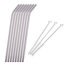 8Pcs Stainless Steel Logam Minum Straw Straws dengan 3 Brush Kit Cleaner