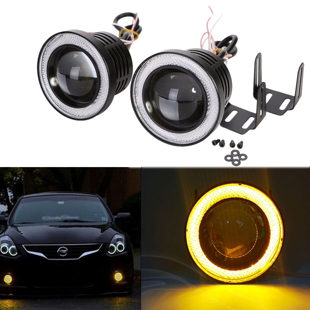2X 2.5 inch 64mm 3200Lm Round LED COB Projector Fog Light with Angel Eyes Halo Ring White/Green/Amber/Blue/Pink/Red Car Auto 12V angel eyes super led light ring for car headlights motorcycle 50mm 5w x 2 one pair white amber red green blue