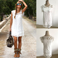 Hot summer dress 2017 sexy mulheres mangas casual praia curto dress tassel sólido branco mini lace dress vestidos plus size