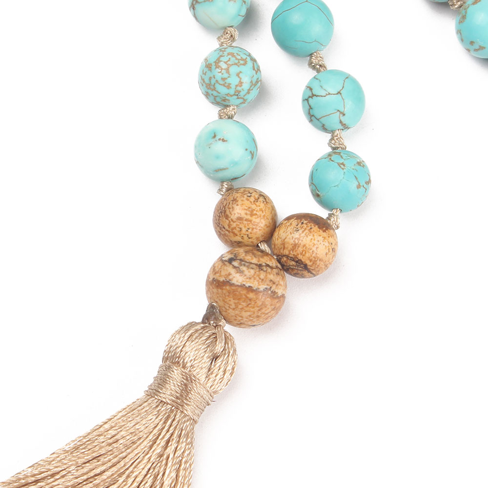 Natural Stone Mala Necklace with Tassel 2