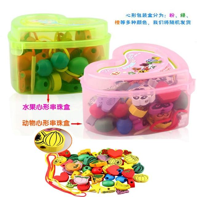 La entrega es gratuita, cajas de amor, juguetes de madera, collares de cuentas juguetes series, 60 UNIDS granos animales de fruta, juguetes de los niños