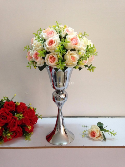Silver metal flower vase Table centerpiece Wedding decoration 38cm ...