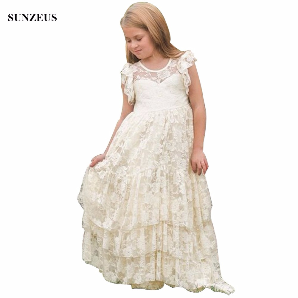 Vintage Lace   Flower     Girl     Dress   Bohemian A-line Floor Length Long Childern Wedding Party Gowns See-through Back FLG001