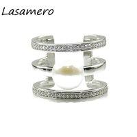 LASAMERO Ringen voor Vrouwen 2.25CT Ronde Cut Natuurlijke Verse Water Parel 925 Sterling Zilver Engagement Wedding Ring