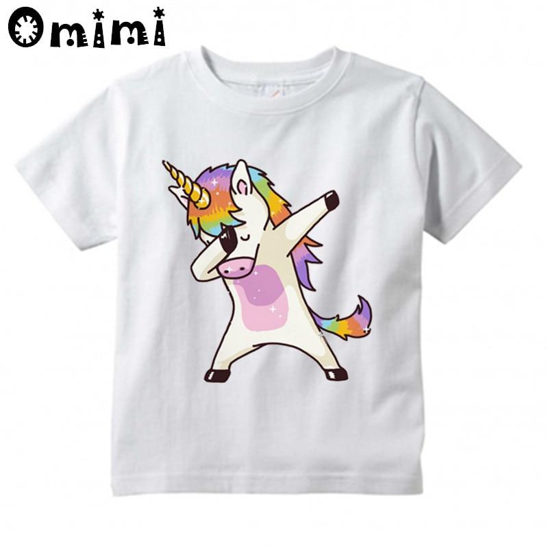Harajuku Dabbing Unicorn Printed Children Casual T Shirt Boys and Girls Funny Tops Kids Great T-Shirt женская футболка other 2015 3d loose batwing harajuku tshirt t a50
