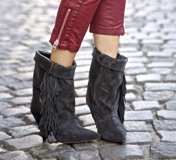 European Style New Fringed Pointed Toe Boots Hot Selling Turn-Over Spike Heel Boots Blcak Seaxy Mid-Calf Short Shoes hot selling chic stylish black grey suede leather patchwork boots mid calf spike heels middle fringe boots side tassel boots