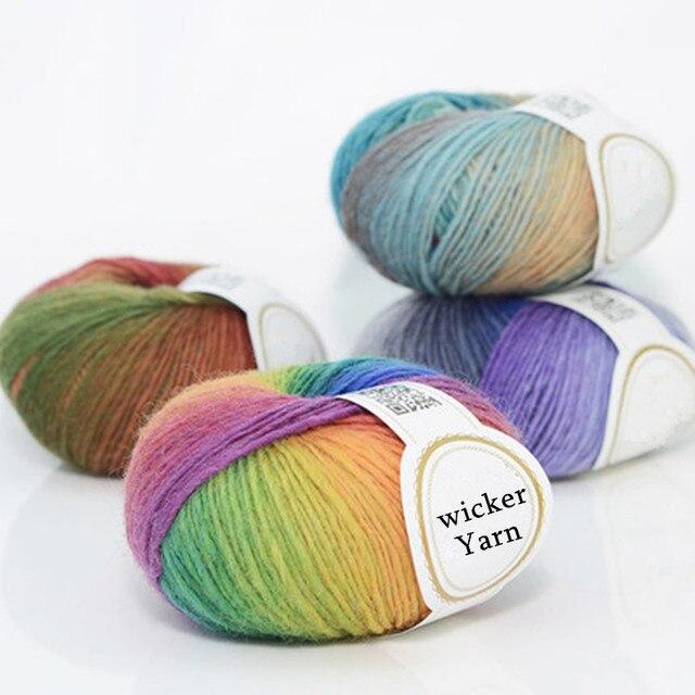 50gball Neue Farbverlauf Regenbogen Wolle Linie Baby Wollknäuel