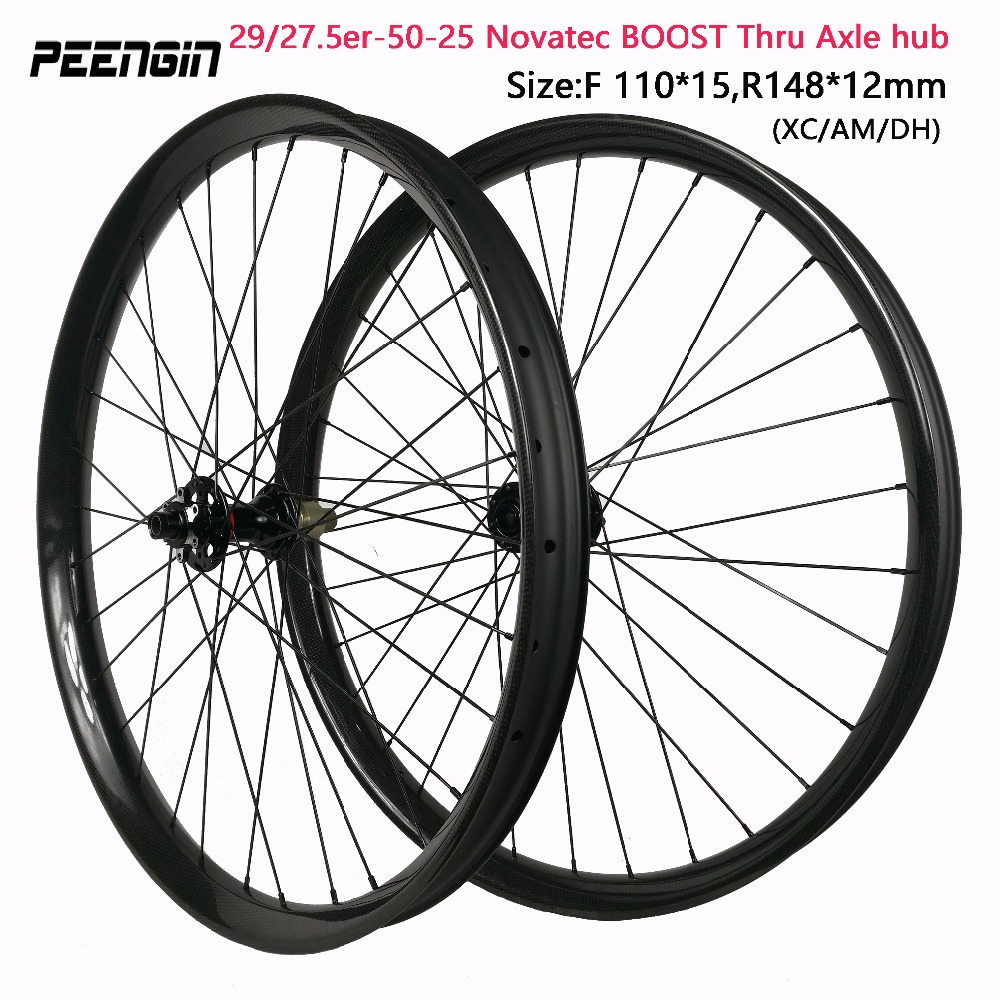 29er MTB wheels novatec BOOST thru axle hubs for XC/AM/DH 27.5inch mountain 50mm wide bike wheelset Front 110*15mm rear 148*12mm цены