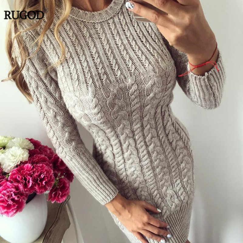 RUGOD, новинка 2019, осенне-зимнее теплое платье-свитер, женское сексуальное облегающее платье бодикон, женское трикотажное платье с круглым вырезом и длинным рукавом