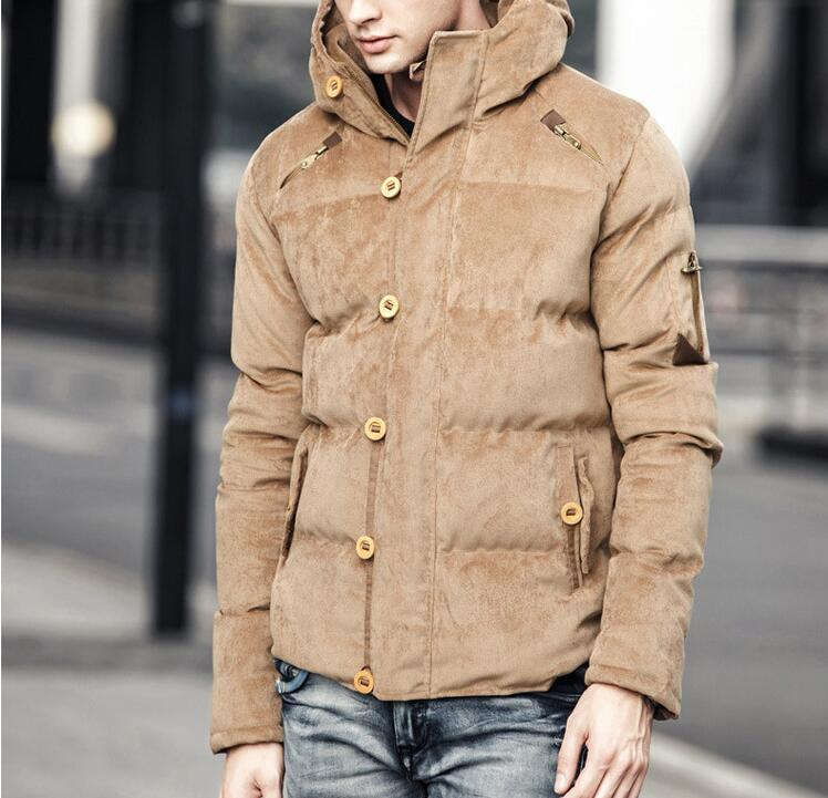 Winter Corduroy Hooded Men Cotton Jacket Coats Fashion Warm Male Parka Casual Overcoat Russian Windproof Cold Aviator Outwear