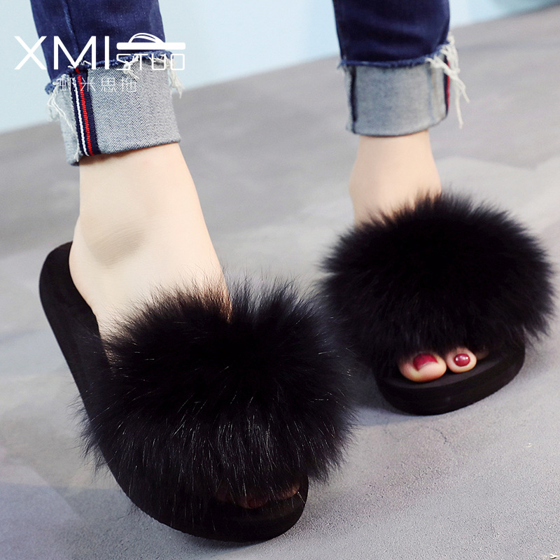 Slippers For Women Fox Fur Slippers Female Thick Summer Women's Shoes Woman Wedges Fur Slipper Women aoxunlong hot fox fur slides woman fox fur slipper fox fur slippers women home slippers badslippers flat slippers for women new