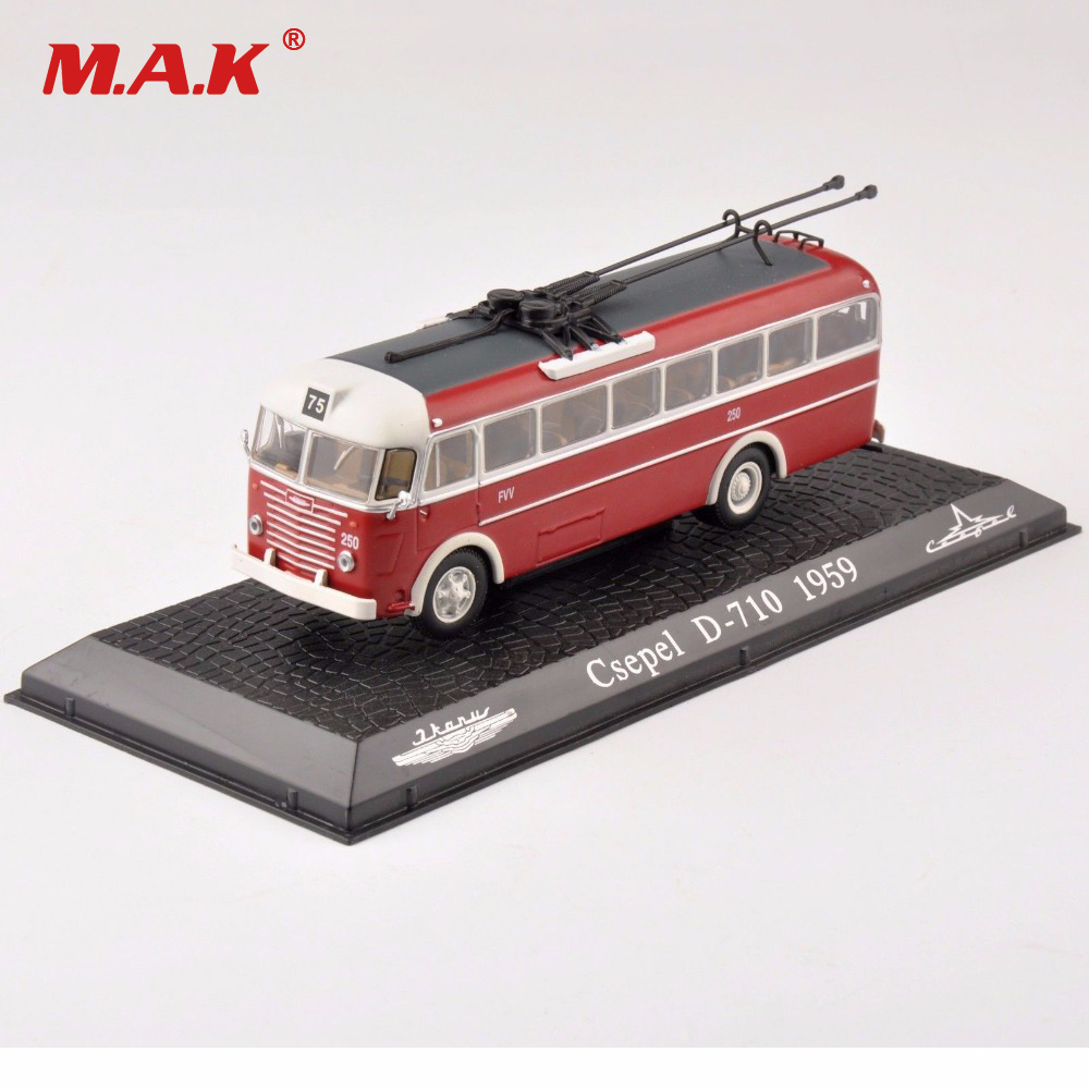 kids toys For Collectible Tram 1/72 Scale Diecast Model 1:72 Scale Diecast Red Csepel D-710 1959 Bus Car Model Toy Gift 1 38 china gold dragon bus models xml6122 diecast bus model gold