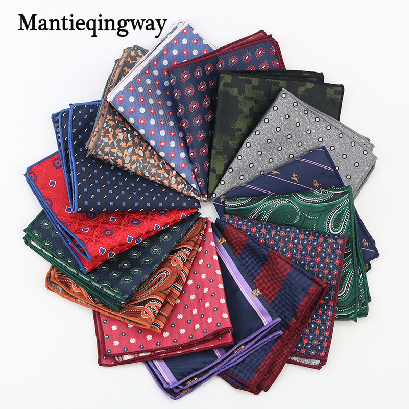 Mantieqingway Men's Suits Pocket Square Handkerchiefs Polyester Silk Stripe Printed Hankies Casual Business Floral Pocket Hanky