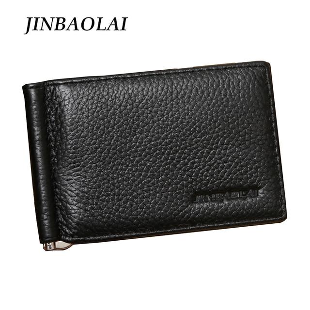 2017 New Arrival Brand JINBAOLAI Men Genuine Leather Money Clip Wallets Fashion Slim Money Clip