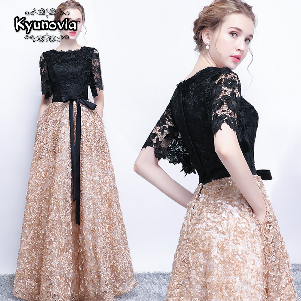 Kyunovia New Black A-Line Lace Long   Evening     Dresses   Half Sleeves Beaded scoop neck long appliques   evening     dress   prom   dress   E14