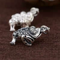 S990 sterling silver gold enamel three dimensional pendant Thai silver antique retro style gift