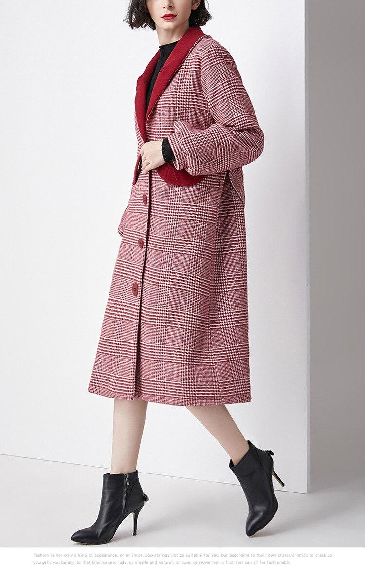 Wollen Jas Rode Winter Herfst 2018 Vrouwelijke Plaid Enkele Breasted Wollen Dikke Warme Lange Uitloper Overjassen Jacket Jassen Kasjmier Dame - 4