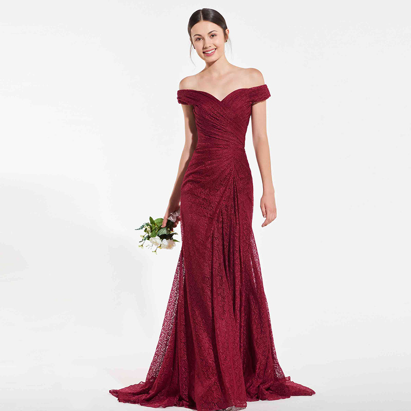 Tanpell lace   bridesmaid     dress   rust red off the shoulder floor length mermaid gown lady wedding party custom   bridesmaid     dresses