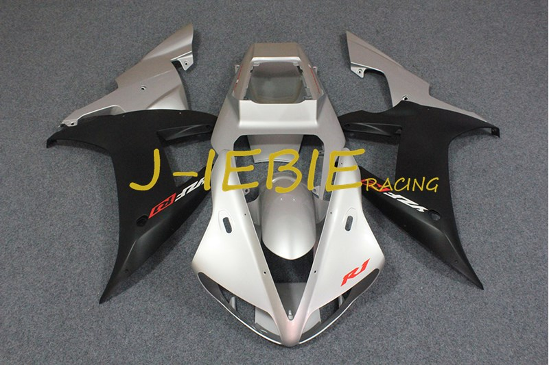 Silver black Injection Fairing Body Work Frame Kit for Yamaha YZF 1000 R1 2002 2003