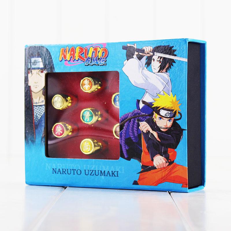 10pcs/set Naruto Cosplay Akatsuki Members' Finger Rings PVC Rings Ornaments Toys 3pcs set hyperbole geometric circle v shape finger rings