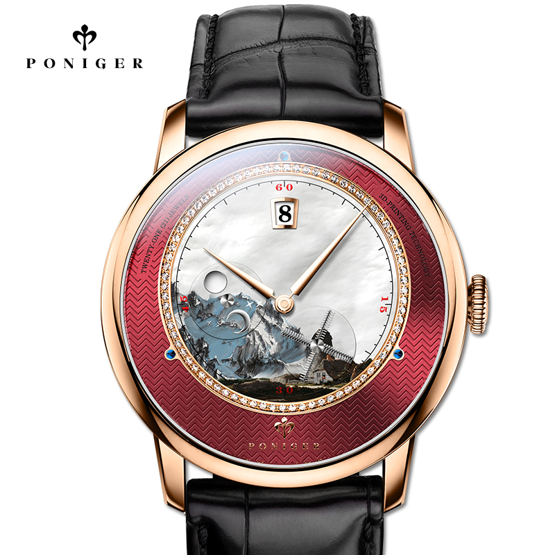 New Switzerland Luxury Brand PONIGER Men Watch Japan Import Automatic Mechanical MOVT Wristwatches Scenery Dial Sapphire