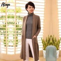 2019 новые стили 100% чистый кашемировый кардиган пальто длинный корейский женский вязаный край толстый зимний открытый свитер кардиган с карм