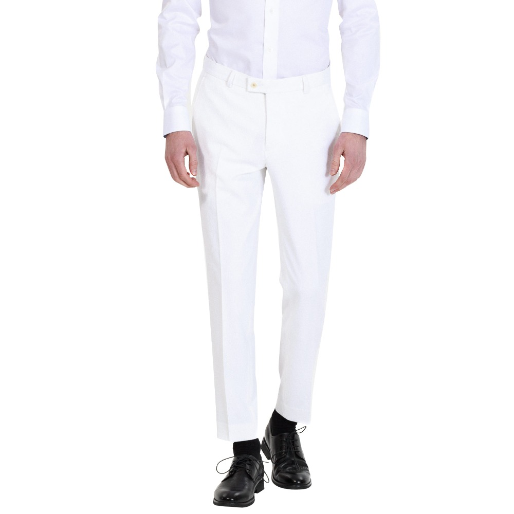 New Men's Comfort Formal Fashion Slim Fit Flat Straight White Male Trousers Office Pants For Wedding Party Or Custom Made Pants