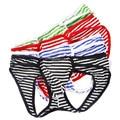4PCS Mens Erotic Stripe Jockstrap Thongs G Strings Sexy Mens Underwear Gay Fashion Design Penis Pouch M L XL 4 Colors Wholesale