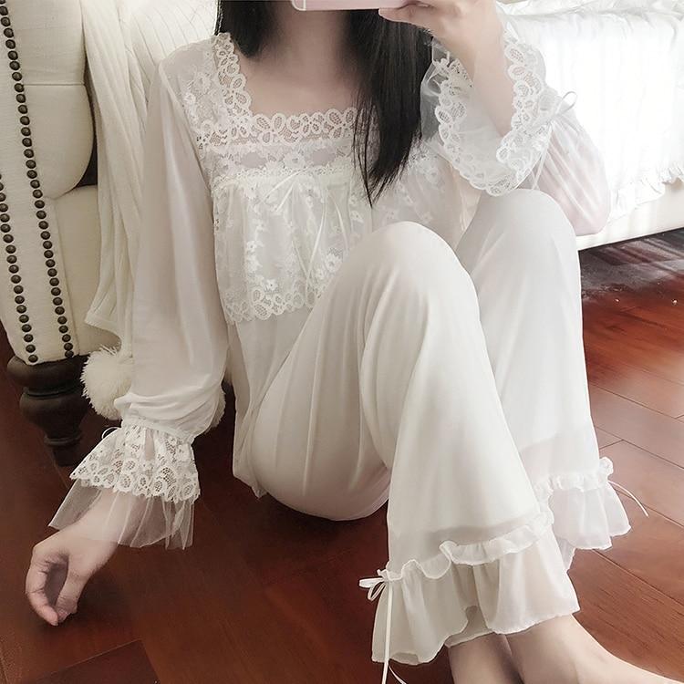 UNIKIWI.Women's Lolita Pajama Sets.Lace Tops+Long Pants.Vintage Ladies Girl's Mesh Pyjamas Set.Victorian Sleepwear Loungewear