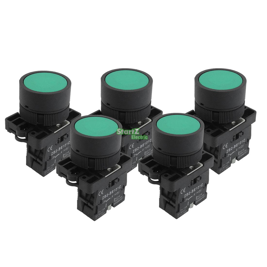5 X 22mm 1 No N O Green Sign Momentary Push Button Switch 600v For Wiring Toggle Diagrams Kcd1 10a Zb2 Ea31