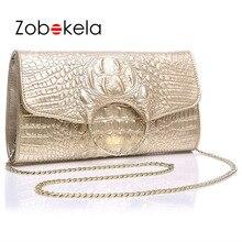 ZOBOKELA Kupplung Weiblich Abendtaschen Luxury Handtaschen Frauen Umhängetaschen Designer Krokoprägung Echtem Leder Kupplung Metall