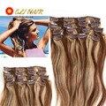 Raw Indiano da Extensão Do Cabelo Em Linha Reta 14 em 100% Indian Remy Grampos de cabelo Em/sobre Extensões de Cabelo Humano 70g-120g Grampo de Cabelo Humano em