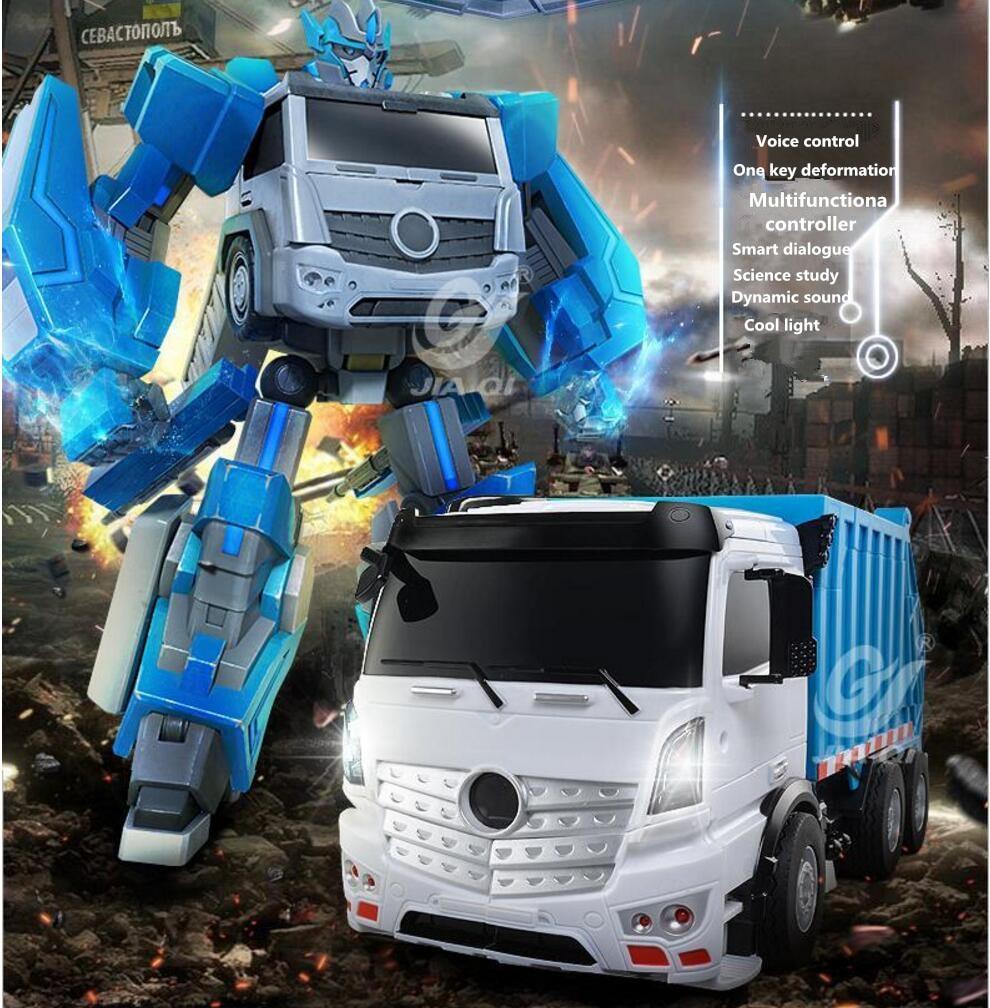 Smart electric RC kids toy TT676 2.4G large voice contol one key deformation intelligence transform RC robot truck model toy цены