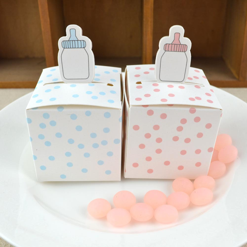 50pcs Baby Bottle Shape Gift Box Pink And Blue Dots Cartoon Baby Shower Birthday Favor Candy Boxes Celebration Party Paper Box