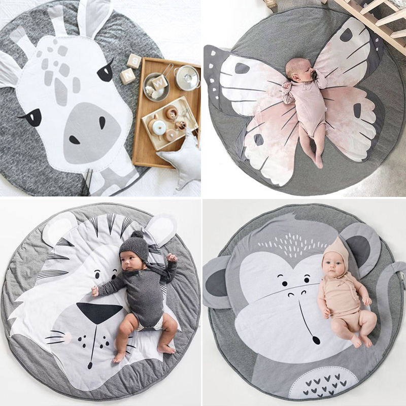 New Baby Kids Floor Mats Baby Crawling Blanket Cotton Chilren Padded Mat Round Cute Cartoon Prints Carpet Kid Room Decoration Baby Gyms & Playmats Activity & Gear