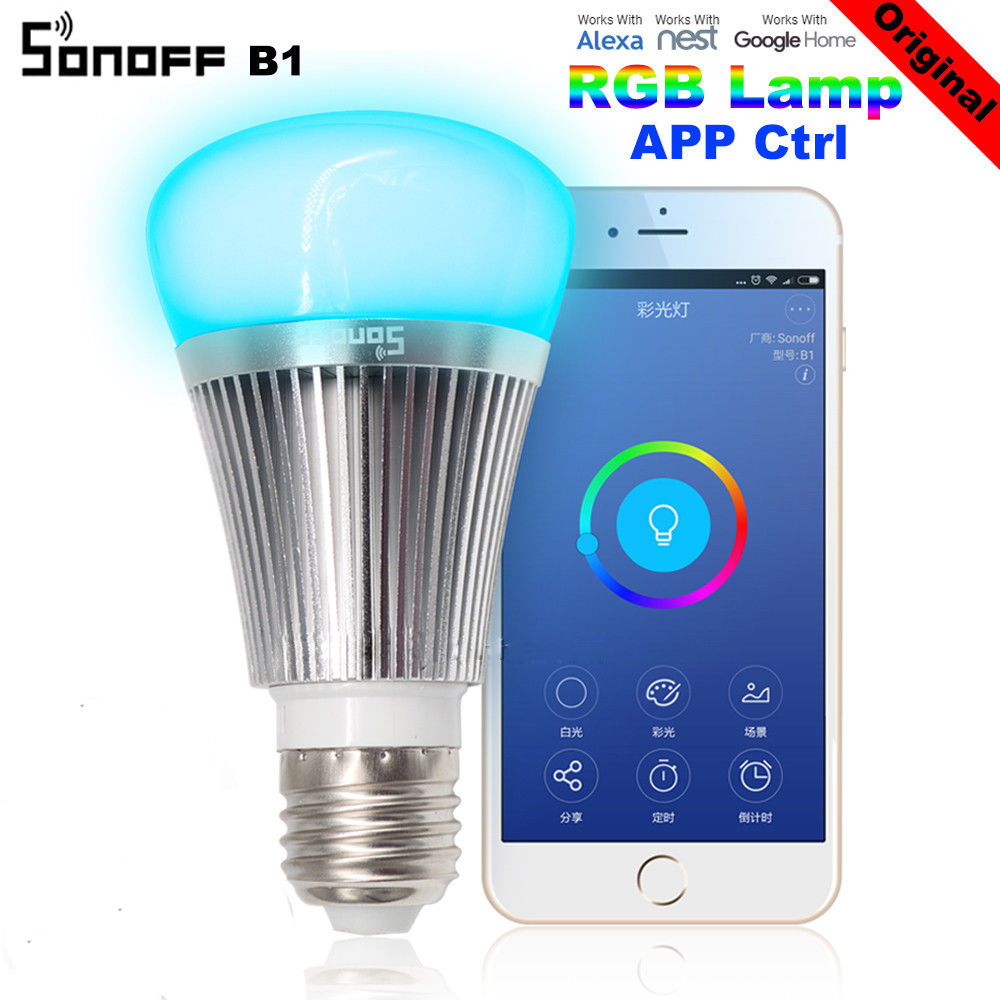 Sonoff B1 Smart Home Wifi Lamp Bulb E27 Colorful LED Lamp RGB Color Light APP WIFI Remote Control Via IOS Android for Smart Home