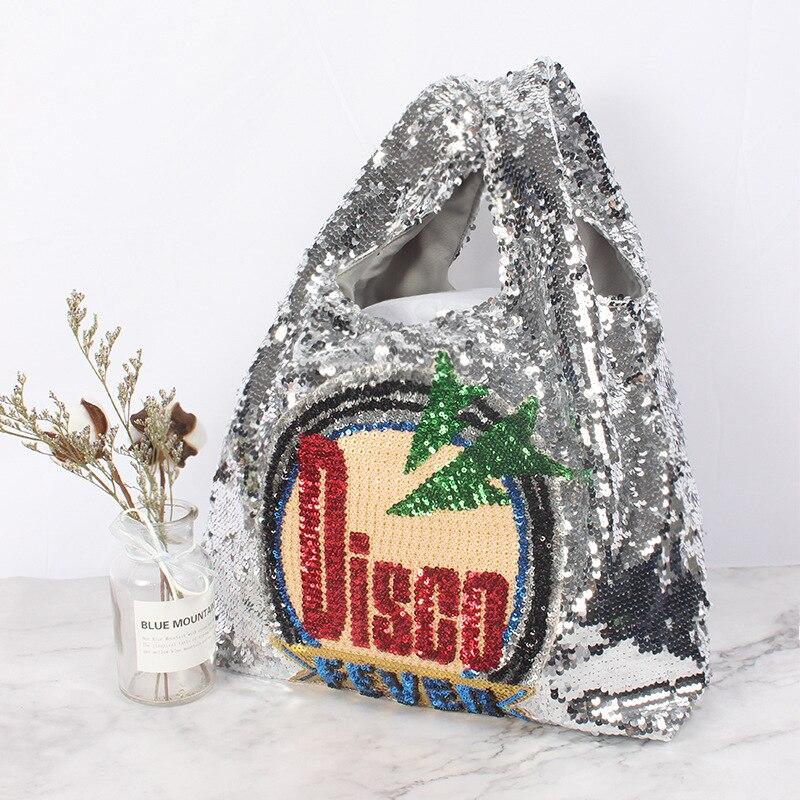 disco Fashion Sequined Causal Tote Bag Large Summer Beach Bag Beaded Blingbling Sliver Shoper Shopping Bag Luxury Lady Handbags