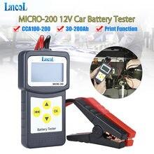 Ferramenta de diagnóstico profissional lancol micro 200 testador bateria carro veículo analisador 12v cca bateria sistema tester usb para impressão