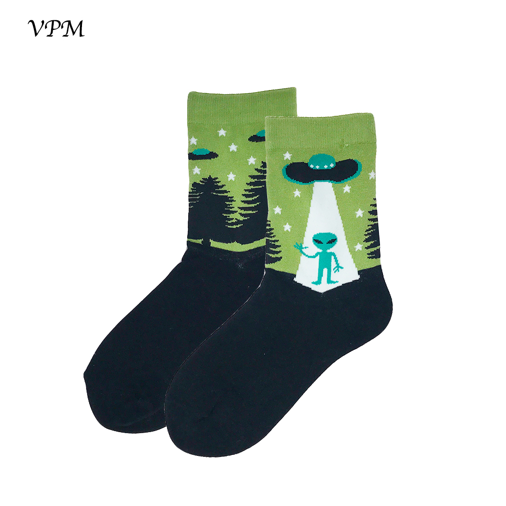 VPM Women Crew   Socks   85% Cotton Harajuku Cartoon Alien Streetwear   Sock   for Wedding Party Christmas Gift