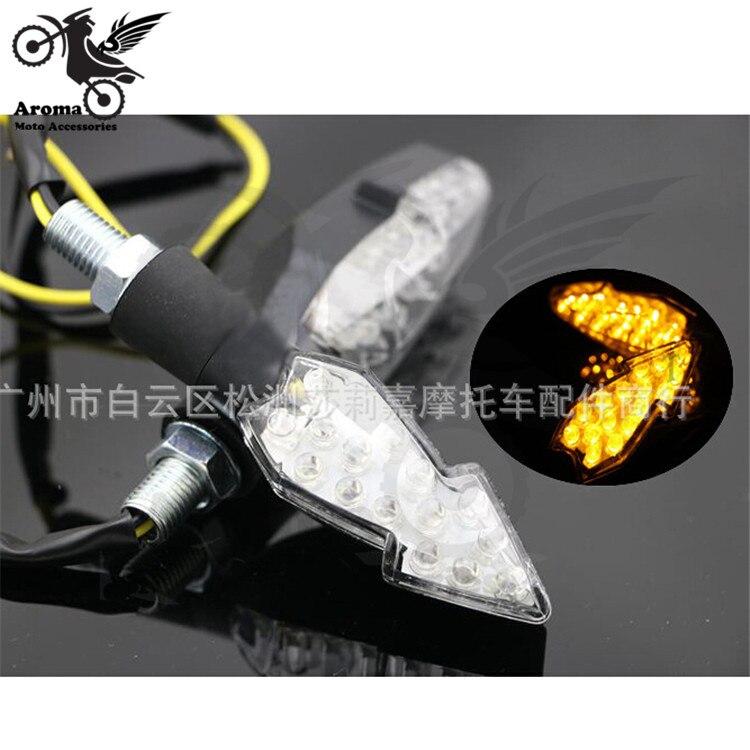 black motorcycle Turn signal light universal <font><b>LED</b></font> motorbike flashers yellow lens lighting Arrow model motocross dirt pit bike ATV