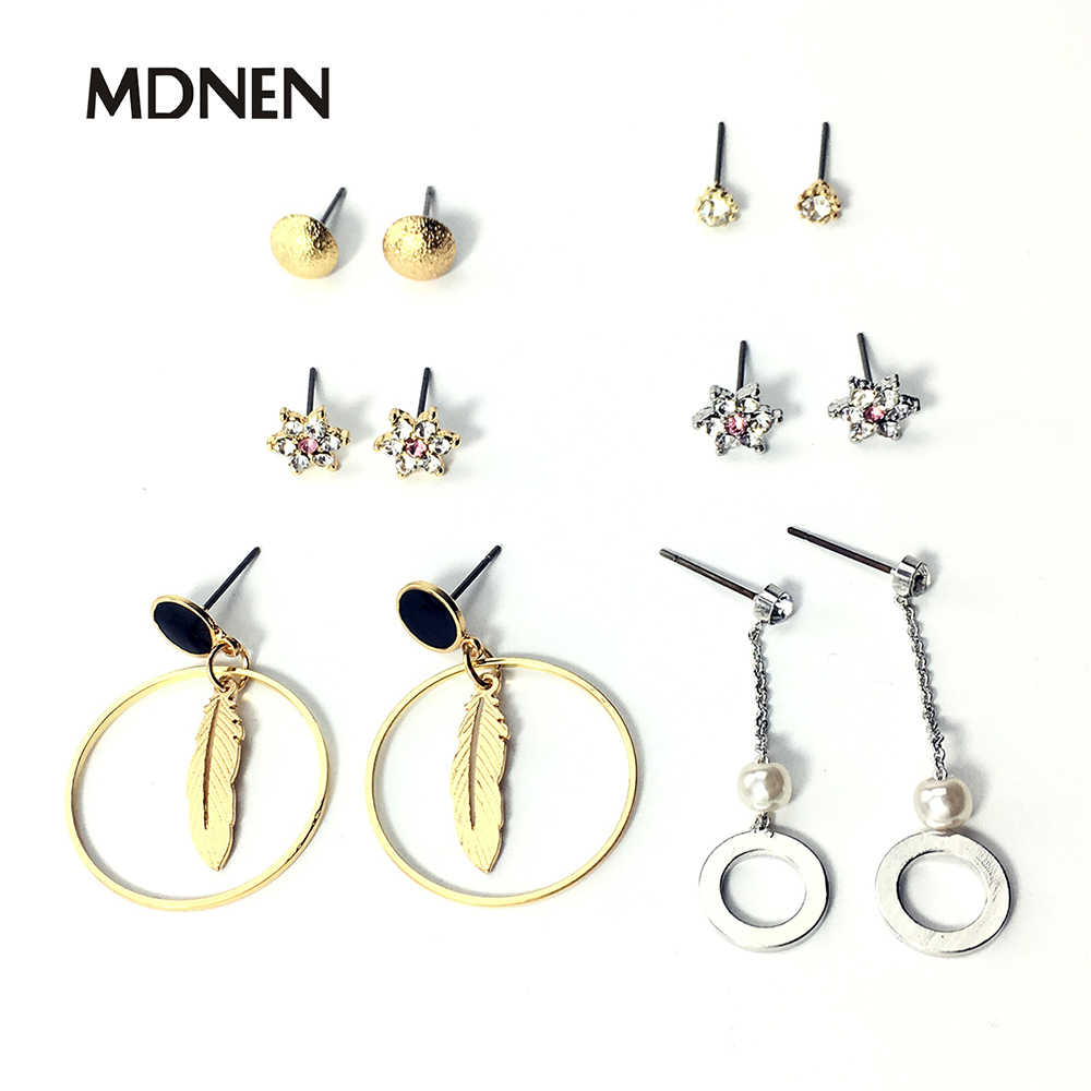 6 Pairs/Set Fashion Gold Color Silver Color Punk Crystal Stud Earrings Set For Women NEW Brinco Costume Jewelry Leaf Sharp