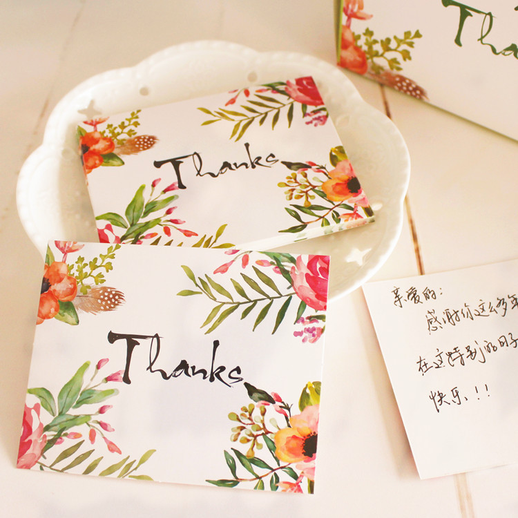 Thanks Card Flower Style Leave Message Cards Lucky Thanksgiving Love Valentine Christmas Party Invitation Letter 30pcs in one postcard take a walk on the go dubai arab emirates christmas postcards greeting birthday message cards 10 2x14 2cm